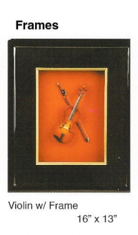 Wood picture frame Shadow box with miniature Violin
