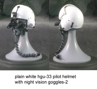 USAF plain white pilot helmet with night vision goggles
