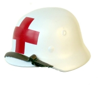 Medic helmet (white) single red cross