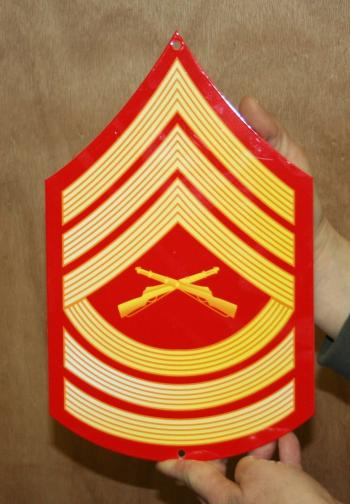 USMC E8 Master Sgt rank Red & Gold metal sign
