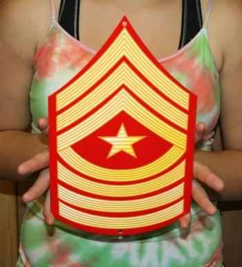 USMC E9 Sgt Major rank Red & Gold metal sign
