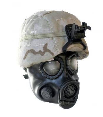 Desert camo kevlor with M-17-A1 Gas Mask