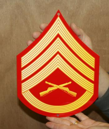 USMC E6 Staff sgt rank Red & Gold metal sign