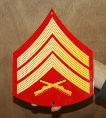 USMC E5 rank Red & Gold metal sign