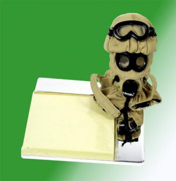 Chemical warfare mask on chrome ( post it ) note pad