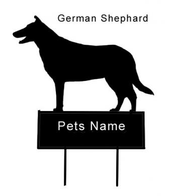 German Shephar dog grave marker