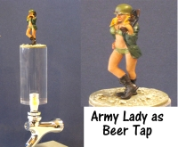 Army lady as beer tap
