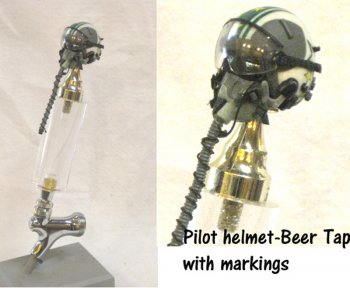 Pilot with squadron markings on helmet as beer tap