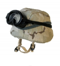 Desert camo kevlor with band and goggles