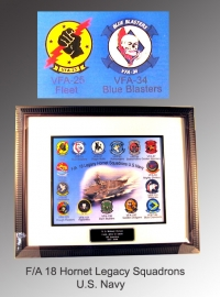 Picture frame and poster of F18 Legacy squadrons