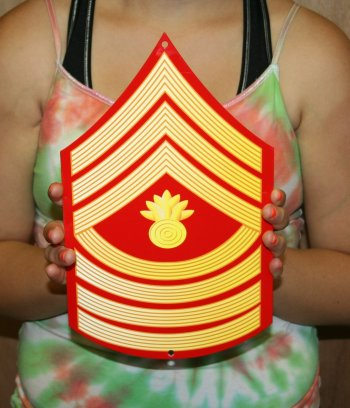 USMC E9 Master Gunnery Sgt rank Red & Gold metal sign