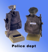 Police bullet vest and MP-5 rifle