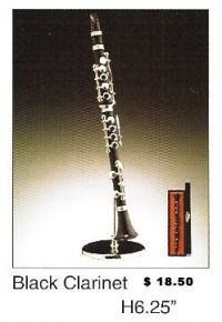 Miniature Musical Instrument Black Clarinet 6.25""