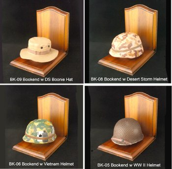 1/4 scale U.S. Military helmets as bookends