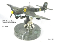 WW2 German Stuka on marble base