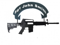 M-4 rifle outline in metal your name
