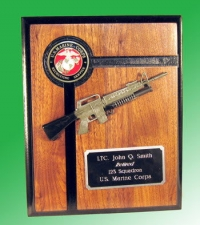 U.S.M.C. Recruiter plaque w/M-4 rifle
