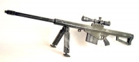 50 Cal Barrett Sniper rifle with scope and bi pod
