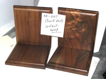 Walnut wood bookends --- new