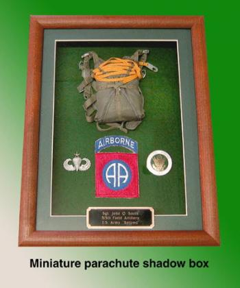 U.S.Army 82nd Airborne parachute shadow box