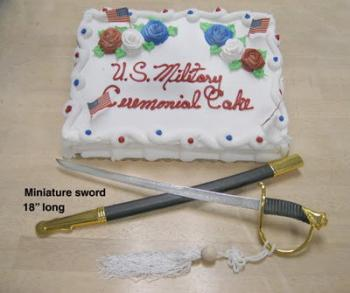 Miniature sword for cake cutting