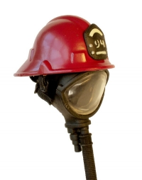 Firemans helmet ( Red with ox mask )