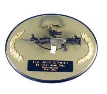 U.S.Army M4 with scope on painted wood plaque