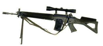 SIG 550 w/sniper scope and tripod ( long barrel )