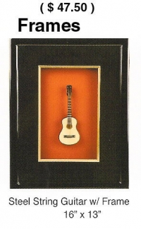 Wood Shadow box picture frame with miniature guitar
