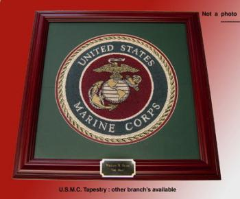 U.S.M.C.Tapestry wall plaque presentation ( not a Photo )