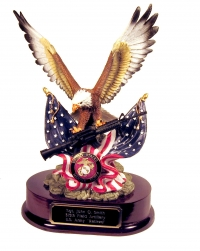 Flying Eagle holding an M 4 Rifle with U.S.M.C. pin