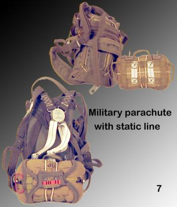 military parachute with static line