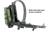 M-60 machine gun with back pack ammo container