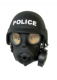 Police riot squad helmet with gas mask