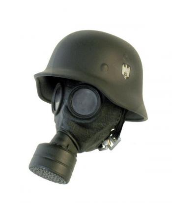 Helmet with M 30 gas mask