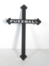 Cross with pets name cut into it
