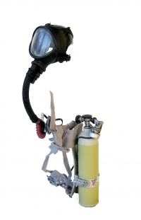 Firemans ox mask and ox bottle back pack