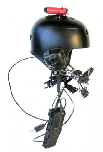 Tactical helmet with strobe light and radio