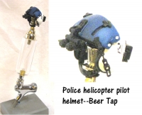 Police helicopter pilot helmet as beer tap