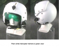 USAF plain white helmet with green visor