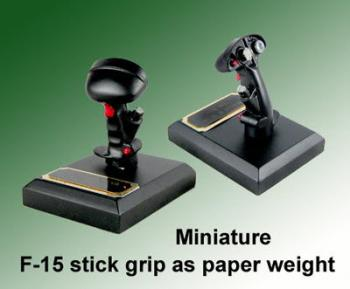 Miniature F-15 stick grip as paper weight