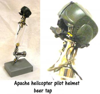 Apache helicopter pilot helmet as beer tap