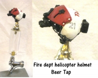 Fire department helicopter pilot helmet as beer tap