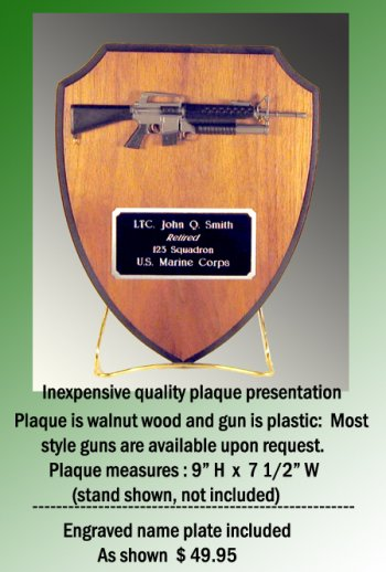 wall plaque with gun