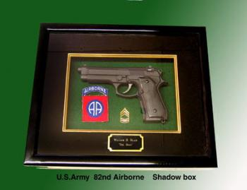 Baretta pistol 82nd Airborne shadow box