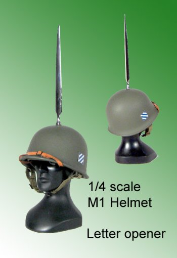 U.S. Military M1 helmet as letter opener