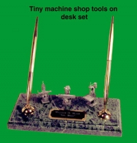 Tiny machine shop tools on desk set