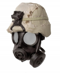Desert camo kevlor with MCU2/P Gas Mask
