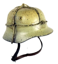 German tan helmet with double wire cage for camo