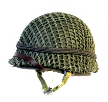 M1 helmet with netting and strap
